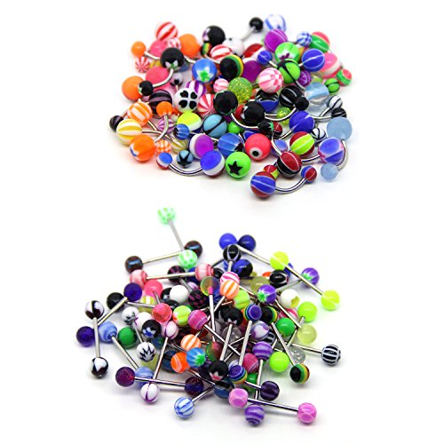 Jewelry Display Belly (Coolrunner 100 Mix Pack 50Pc 14G Belly Button Rings and 50Pc 14G Tongue Ring Barbells Kit)
