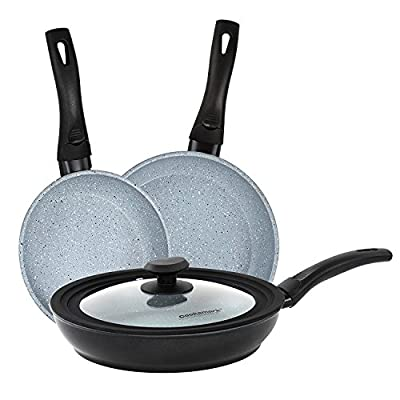 Cooksmark Faraday Induction Compatible Dishwasher Safe With Universal Silicone & Glass Lid Granite Nonstick Coating Aluminum Frying Pan set, Cookware Set, 3 piece (8-Inch, 9.5-Inch, 11-Inch)