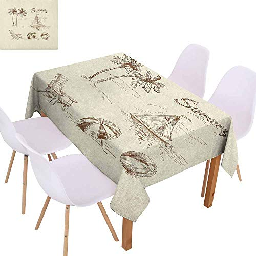 Marilec Rectangular Tablecloth Beach Monochrome Tropical Elements Tree Boat Umbrella Wooden Chair Pattern Sketch Design Washable Tablecloth W59 xL71 Beige Brown