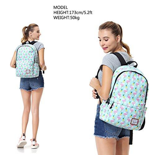 School Backpacks for Girls,Vaschy Cute Lightweight Water-Resistant w 14in Padded Laptop Sleeve in Pineapple Flamingos by Vaschy (Image #6)