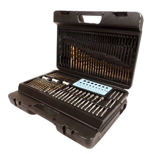 204 Piece Professional Drill Bit Set- Complete Wood Metal Masonry Kit