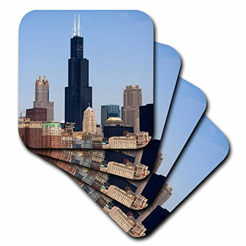 3dRose cst_90187_1 Willis and Sears Tower, Chicago River, Il-Us14 Dfr0095-David R. Frazier-Soft Coasters, Set of - Water Il Tower Chicago
