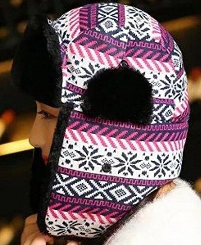 Alion Women Winter Fashion Warm wind Russian Bomber Hat Purple OS