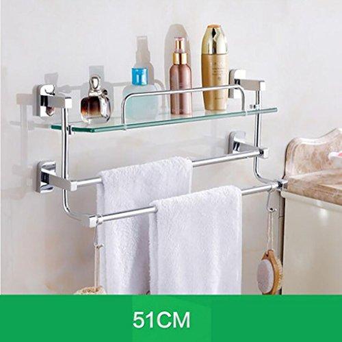 YAOHAOHAO Bathroom shelving bath rooms, glass on a shelf, shelf, TOILET BATH ROOMS Bath Rooms rack with double glazing, bath rooms towel rail (Size: 51 cm). by YAOHAOHAO (Image #6)