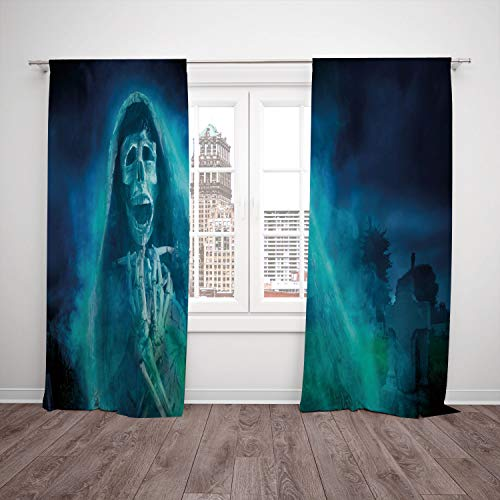 (SCOCICI Satin Window Drapes Kitchen Curtains [ Halloween Decorations,Gothic Dark Backdrop a Dead Ghost Skull Mystical Haunted Horror Theme,Blue] Bedroom Living Room Dorm Kitchen)