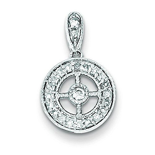 Argent Sterling diamant pendentif cercle-JewelryWeb