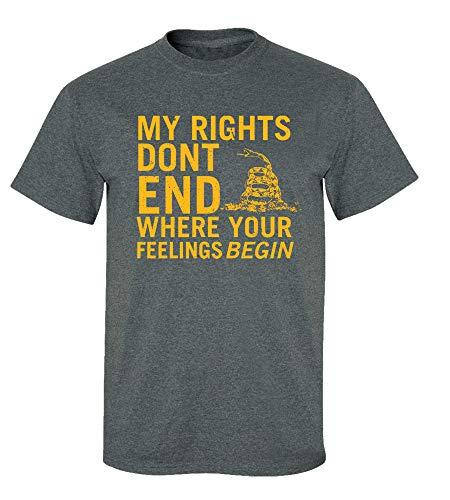 Rights Don't End Where Feelings Begin 2nd Amendment T-Shirt-Dark Heather-XL