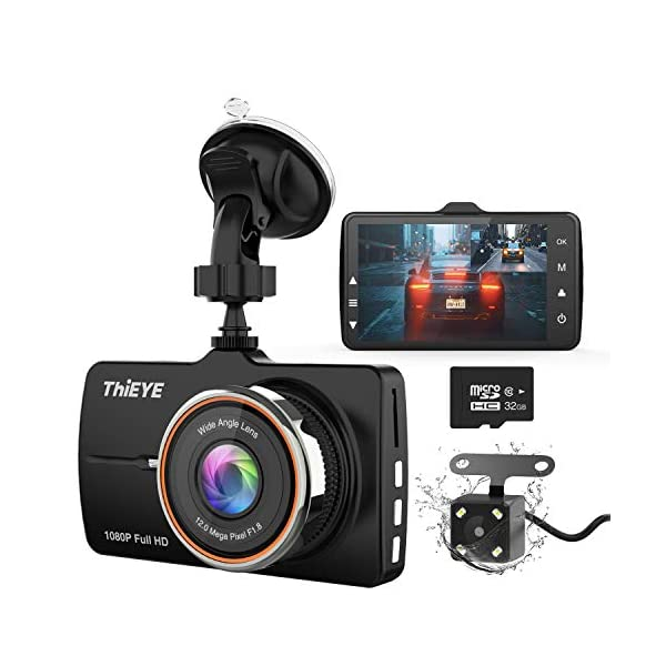 ThiEYE Dash Cam Front and Rear Car Camera Dual Dashcam FHD 1080P 3.2″ IPS Screen with SD Card 170°Wide Angle, Loop Recording, WDR,Night Vision, G-Sensor