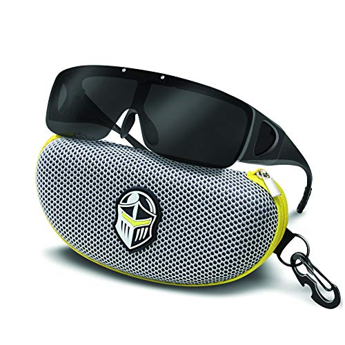 (BLUPOND Wrap Around Oversized Anti Glare Sunglasses Fit Over Prescription Glasses - KNIGHT VISOR)
