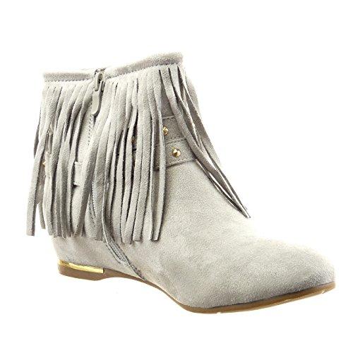 Sopily - Scarpe da Moda Stivaletti - Scarponcini alla caviglia donna frange borchiati metallico Tacco a blocco 1.5 CM - Grigio