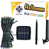 DeVida Halloween Solar Decorations - Party String Lights - 100 Mini LED 8 Mode Set, Outdoor Waterproof Lighting Decor for Tree, Float. No outlet needed in Purple, Dark Orange and Green