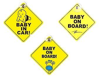 Pegatinas Bebe para Coche,Baby On Board 3 Pack Pegatina Bebé a Bordo con Ventosa Ninos Automóviles Signos de Seguridad 5 * 5 Pulgadas Amarillo