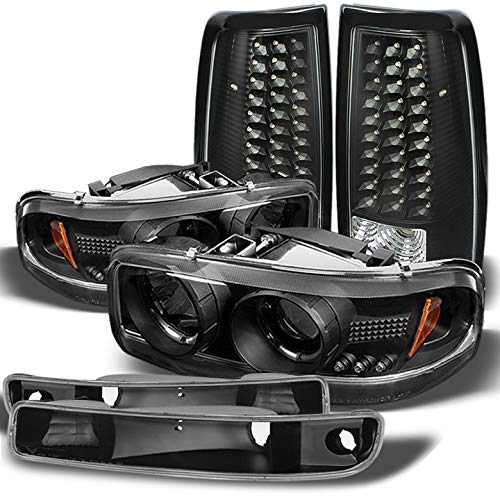 Xtune for 1999-2003 GMC Sierra Black Halo Projector Headlights Bumper Set + LED Tail Lights 2000 2001 2002