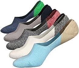 Mens Super No Show Low Cut Invisible Sneaker Socks Color Durable Non-Slide 5Pack