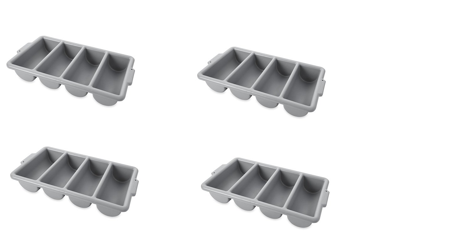 Rubbermaid Commercial FG336200GRAY 4-Compartment Cutlery Bin, Gray (4 PACK,) by Rubbermaid Commercial Products