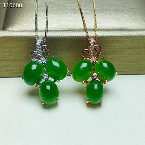 FidgetKute Vintage Fine Chinese HeTian Jade Certified Green Leaf Pendant 925 Silver