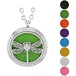 Jenia Essential Oil Diffuser Necklace Stainless Steel Aromatherapy Locket Pendant Free Chains and Pads