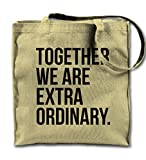 Together We Are Extraordinary Couple Cute Friends Natural Canvas Tote Bag, Cloth Shopping Shoulder Bag