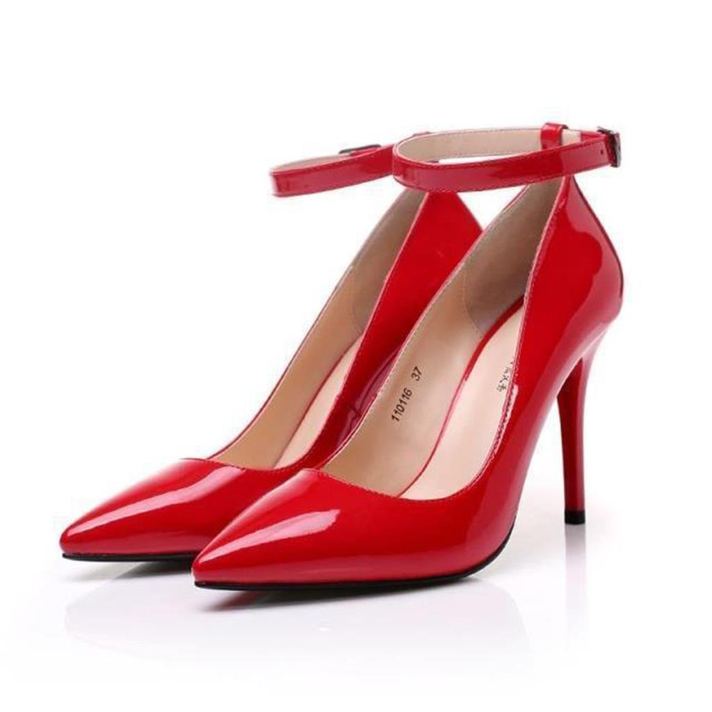 ALUS- Women's Shoes - Europe and The United States Sexy Super high-Heeled 10cm/12cm - red fine with Fashion Pointed Professional White-Collar Shoes - Women's Wedding Shoes