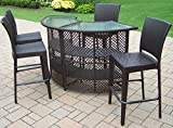 Oakland Living Elite Resin Wicker Half Round 5-Piece Bar Set