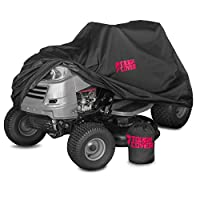 "Premium Lawn Tractor Cover by ToughCover | Riding Lawn Mower Cover Made With 600D Marine Grade Fabric | Features Double Stitched Seams & Interior Waterproof Coating | For Up To 54"" Decks"