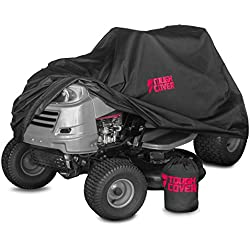 "ToughCover Premium Lawn Tractor Cover by Riding Lawn Mower Cover Made with 600D Marine Grade Fabric | Features Double Stitched Seams & Interior Waterproof Coating | for Up to 54"" Decks"