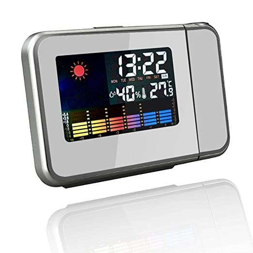 Aolvo - Reloj despertador de proyección con estación meteorológica ...