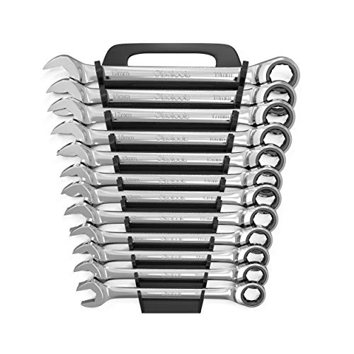Olsa Tools 12pc Metric Ratcheting Wrench Set - 100 Teeth Ratchet Combination Wrenches - Patented Box End That Works On Stripped and Rounded Bolts - Professional Grade Ratchet Wrench Set for Mechanics