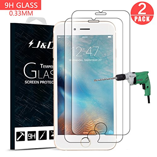 J&D Compatible for 2-Pack iPhone 6s Plus / 6 Plus Glass Screen Protector, [Tempered Glass] [Not Full Coverage] HD Clear Ballistic Glass Screen Protector for Apple iPhone 6s Plus Screen (Best Jd Cases For Iphone 6 Plus To Protect The Cases)