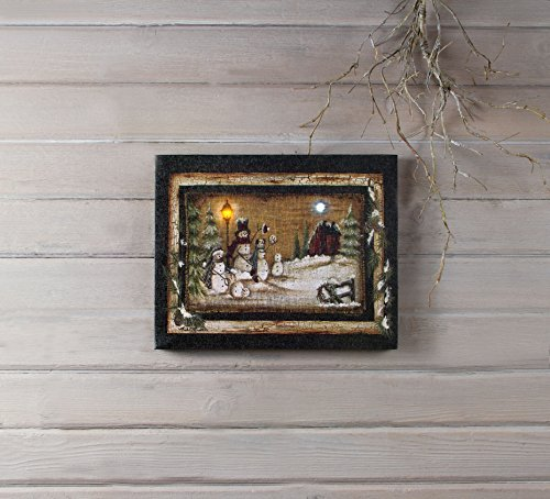 (Snowman Family Portrait LED Light-up 12 x 16 Stretched Canvas Christmas Wall Art Plaque)
