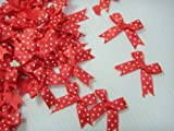 Polka Dot Satin Ribbon Red Bows for Perfect Diy- Applique, Scrapbook, Card Trims Craft- 7 Mm. 40 Pcs