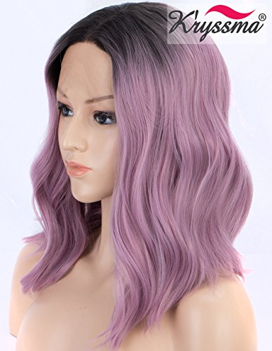K'ryssma Short Bob Lace Front Wig Ombre Purple Synthetic Wig for Women Dark Roots to Ash Purple Wavy wig Heat Resistant -