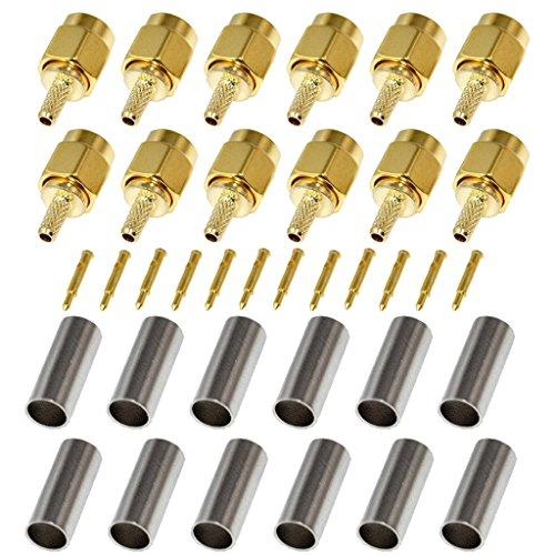 (BeElion(TM) 12-Pack SMA Male Crimp Straight Connector, RF Coax Adapter for RG188 RG178 RG316 RG174A-U/LMR100A/RFC100A)