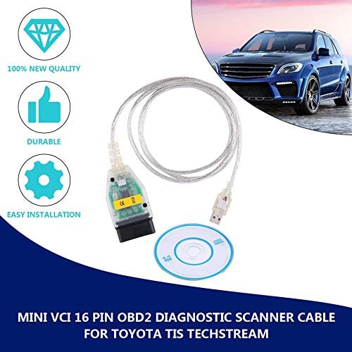 graceUget Mini VCI 16 Pin OBD2 Diagnostic Scanner Cable for Toyota TIS Techstream