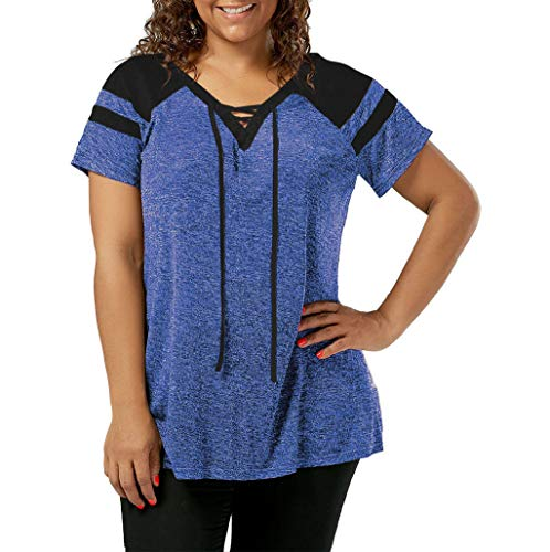 (TnaIolral Women Lace T-Shirt Plus Size Short Sleeve Raglan Sleeve Up Bandage Tops Blue)