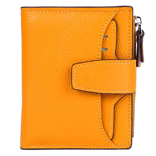 AINIMOER Women's RFID Blocking Leather Small Compact Bi-fold Zipper Pocket Wallet Card Case Purse(Lichee Yellow) ()