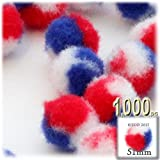 The Crafts Outlet 1,000-Piece Multi purpose Pom Poms, Acrylic, 51mm/about 2.0-inch, round, Tri-Color Red White and Blue
