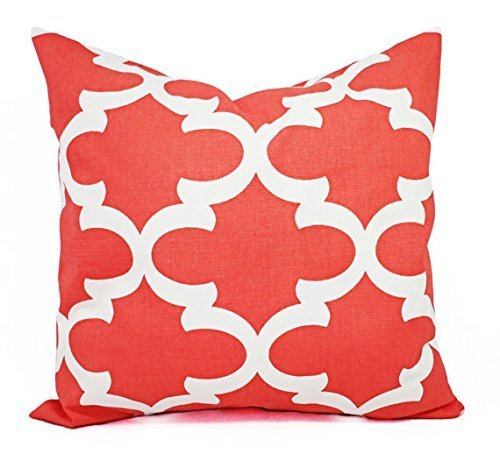 Coral and White Quatrefoil Trellis Throw Pillow Cover in Custom Sizes - Decorative Pillow Sham - Coral Pillows