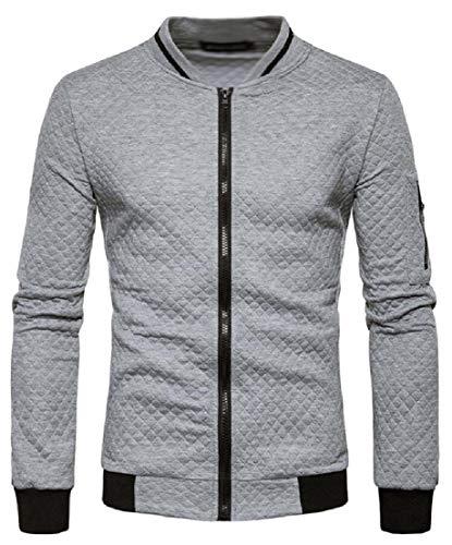 Sweatshirt Outwear Zipper Soft Sport Jacket Sleeve Tops Grey Coat Long Light Cardigan Men's Plaid TTYLLMAO q7CnB45Ex4