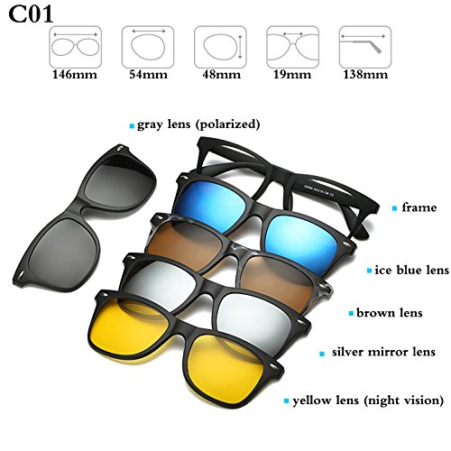 ecaef5b29cf BuyWorld Fashion Optical Spectacle Frame Men Women With 5 Clip On Sunglasses  Polarized Magnetic Glasses For Male Myopia Eyeglasses RS159  Amazon.in  ...
