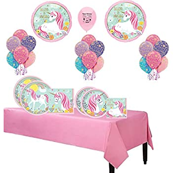 Magical Unicorn Party Supplies Believe In Unicorns Birthday Party Balloon and Tableware Set for 16 Guests