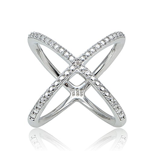Diamond Criss Cross Ring - Sterling Silver Diamond Accented Criss-Cross X Crossover Ring, Size 9