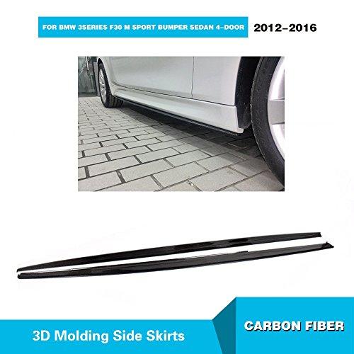 For BMW 3 Series 320i 325i 335i F30 M-Sport 2012-2017 MCARCAR KIT Front Rear Bumper Lip Spoiler Splitter (CF Side Skirt) (Skirt Extension Rear)