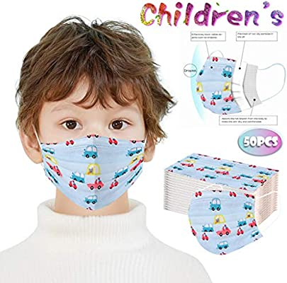 100 Pcs Kidss Three-Layer Face Coverings Protective Dust-Proof Cartoon Printed Face Protection for Back to School