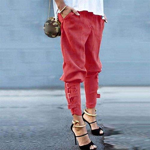 Moda Fit Lunga Tempo Elastica In Pantaloni Slim Rot Style Primaverile Fibbia Donna Tasche Con Metallo Eleganti Vita Alta Monocromo Libero Festa Harem Pants Autunno Accogliente UIqFn1