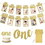 MMTX First Birthday Decoration, 1st Birthday Photo Banner for Newborn to 12 Months, Monthly Photograph Bunting Garland, One Banner, One Cake Topper for Party Baby Shower-Gold
