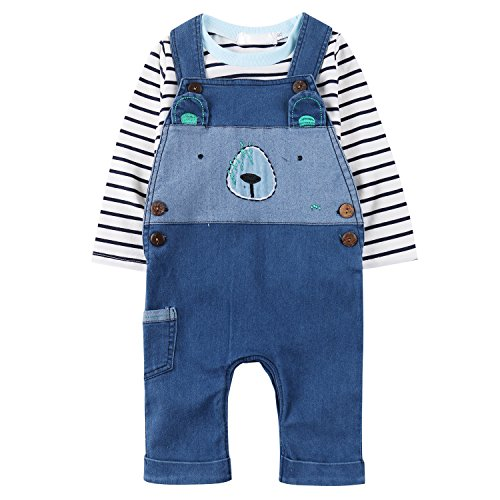 Fashion Baby Boys' Romper Jumpsuit Overalls Stripe Rompers Sets Boys Clothes (Santa Overalls)