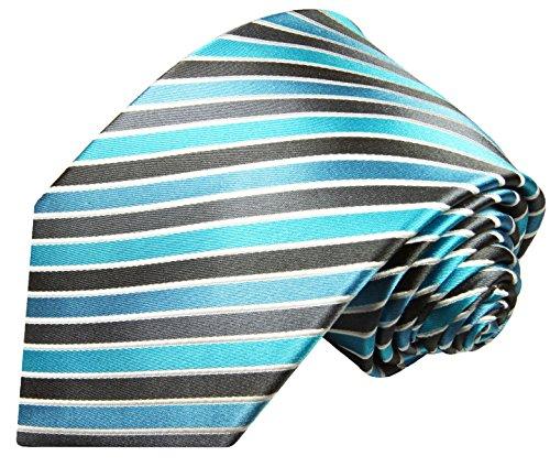 Cravate gris turquoise rayée ensemble de cravate 3 Pièces ( 100% Soie Cravate + Mouchoir + Boutons de manchette )