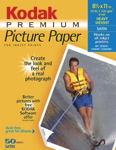 Kodak Premium Picture Paper for Inkjet Prints (Satin, 8.5x11, 50-Sheets)