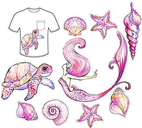 (Mermaid Iron-On Transfer Iron Patches Sea Shell Patches Starfish Turtle Iron on Sea Beach Animal Patch Girls Gift DIY Clothes Dress)